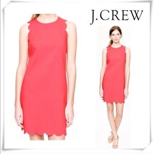 J Crew coral scallop dress
